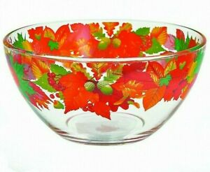 1.6 qt Large Salad Glass Mixing Bowl with Autumn Leaves Nature Pattern