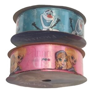 "2 Pc Lot Berwick Disney Frozen Ribbon 7/8"" x 9' Each Pink Anna Elsa Blue Olaf"