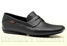 GUCCI mens 9.5G Black GUCCISSIMA leather Web SAN MARINO Drivers shoes NIB Authen