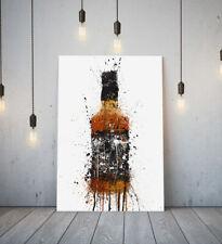 JACK DANIELS -DEEP FRAMED CANVAS WALL SPLASH ART PICTURE PAPER PRINT-BROWN BLACK