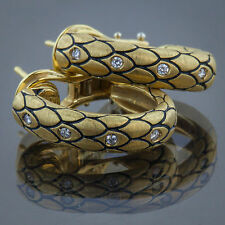 Roberto Coin Snake Scales, Earrings, 18K Yellow Gold, Diamonds, Rubies