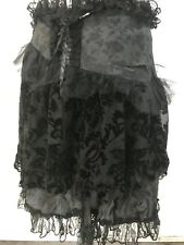 Steampunk Gothic Victorian  Black Flock Brocade Skirt By Raven SDL Uk 10/12 ML