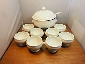 Vintage Pillivuyt Lion Head Soup Tureen - with Lid, Ladle and 9 Soup Cups
