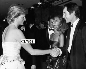 """Princess Diana Meets Timothy Dalton at Movie Premiere of """"The Living Daylights"""""""