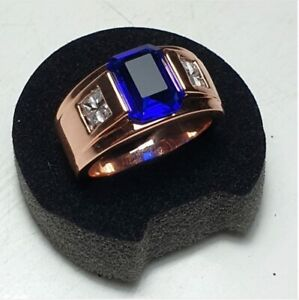 2.40 Ct Blue Sapphire Men's Wedding Engagement Band Ring 14k Rose Gold Over