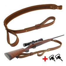 Genuine Leather Rifle Sling Ammo Adjustable Hunting Shotgun Strap with Handle