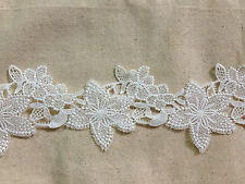LM20 white vintage bohemian bridal snowflake flower lace trim 9cms x 2yards