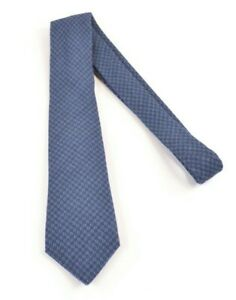 ISAIA NWOT Neck Tie In Bright Blue & Charcoal Plaid 100% Wool Current 7 Fold