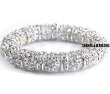 3pcs/lot 10mm pave white bead men women spacer Beads Crystal Shamballa Bracelet