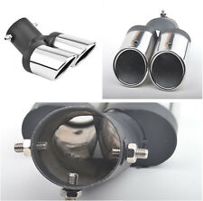 63mm Car Modification Grilled Black Stainless Steel 1to2 Dual Pipe Exhaust Pipe