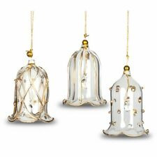 SIKORA BS69 Set of 3 Glass Christmas Tree Ornament - Bells H: 6 cm / 2.4 in