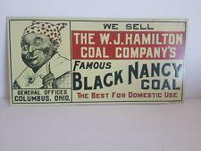 BLACK NANCY COAL  sign americana garage gas oil embossed tin .