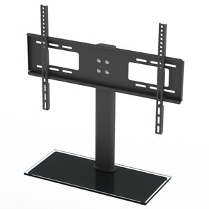 32-55 Inch VESA Black Cantilever Glass Floor TV Stand with Bracket for Screen UK