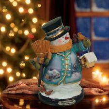 Thomas Kinkade Figurine - White Christmas Snowman New  Item 1513888007 COA