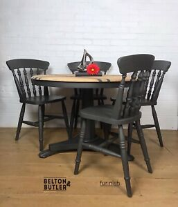Round Tilt Top Space Saving Dining Table and Four Dining Chair Set in Grey