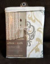 Allen+Roth Grey, Gold, & Red Damask Patterned Fabric Shower Curtain!