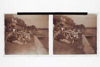 Baño A Borde Del De Agua Foto Placa Estéreo 6x13cm Vintage