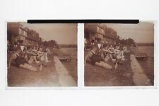 Baignade Au bord de l'eau Photo Plaque Stereo6x13cm Vintage