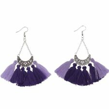Long Silver Chain Tassel Fringe Crystal Boho Bohemian Chandelier Earrings Purple