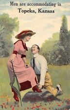 """""""Men Are Accommodating"""" in Topeka Kansas~Fellow Ties Lady's Shoe~1912 Pennant PC"""