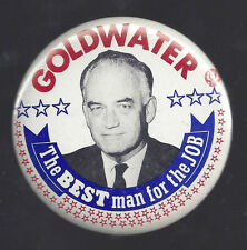 """1964 BARRY GOLDWATER """"THE BEST MAN"""" 3 1/2"""" CELLO PICTURE CAMPAIGN BUTTON"""