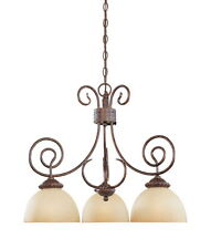 Aged Umber Bronze And Venetian Scavo Glass 3 Light Chandelier