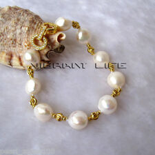 "8"" 11-13mm White Baroque AA Freshwater Pearl Gold Color Bead Bracelet AC"