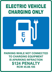 ELECTRIc VEHICLE CHARGING ONLY   Adhesive Vinyl Sign Decal