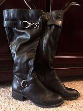 "Womens Dress Barn Black Boots 8M Soft Lined 16"" Tall Ladies Riding Flexible"