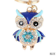 Cute Blue Owl Car Keychain Crystal Key Ring Chain Purse Charm Pendant Good Gift