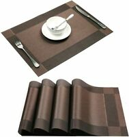 Placemats Set of 4 Heat-Resistant PVC Woven Washable Non-Slip Brown 17.7''X11.8'