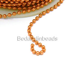 Solid Copper 2.4mm Beaded Dog Tag Jewelry Ball Chain Sold Bulk by the Foot