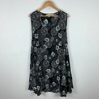 Mayas Of Narooma Womens Dress M/L Black Floral Sleeveless Round Neck