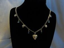 Vintage Simple Style Romantic Silver Love Heart Gift Necklace Assemblage Beads