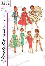 Vintage Simplicity 3252 - doll sewing pattern - miss revlon & Cissy - 18 inches