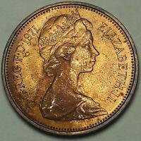 1971 Great Britain 2 New Pence BU DEEP DARK UNIQUE COLOR TONED GEM UNC (SS)