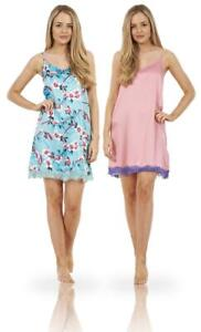 Ladies Satin Lace Womens Floral Print Elasticated Chemise