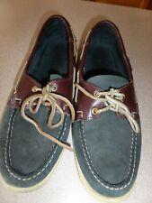 Men's Sebago Docksides Sneakers Shoes Green Brown Moccasin Leather sz 10.5 D