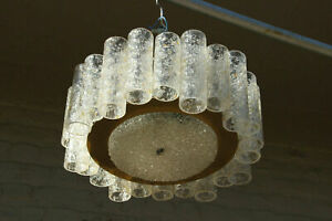 German Mid-Century DORIA glass tubes amber clear chandelier pendant 1960