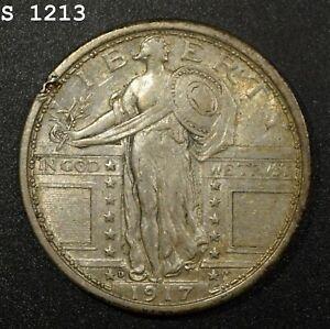 "1917-D ""Type 1"" Standing Liberty Quarter ""AU+ Rim Ding"" *Free S/H After 1st Item"