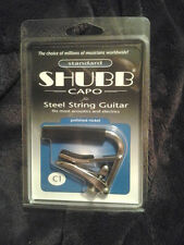 New Shubb C1 Polished Nickel Standard Capo for Steel String Guitars + SHIPS FREE