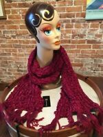 INC Red Wine Chenille Shine Soft Knitted Winter Fashion Scarf O/S New