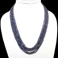 5 Strands Natural Iolite Necklace Top Quality Faceted Beads 925 Silver Clasp