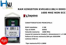 Memoria RAM Kingston 4gb KVR16S11S8/4 1600mhz DDR3 Non-ecc Cl11