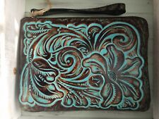 Patricia Nash Turquoise Wristlet Cassini Tooled leather floral NWT teal