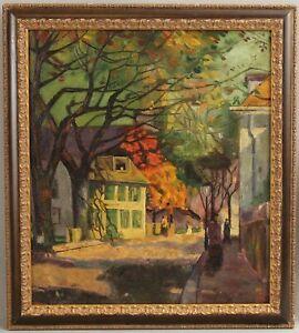 Antique Signed Rockport School Street Scene Autumn Impressionist Oil Painting NR