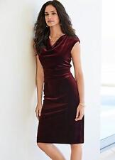 Stretch Velour Deep red Wine /Burgundy Velvet Cowl Neck Dress size 22 NEW