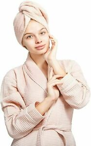 Women's Cotton Robe and Hair Towel Wrap Set of 2 Pieces
