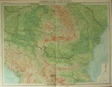 1922 LARGE ANTIQUE MAP ~ RUMANIA & ADJACENT STATES ~ BULGARIA