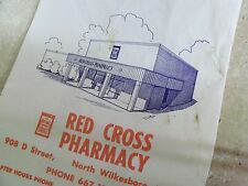 Advertising Paper Bag Red Cross Pharmacy North Wilkesboro NC Pharmacy Drug store